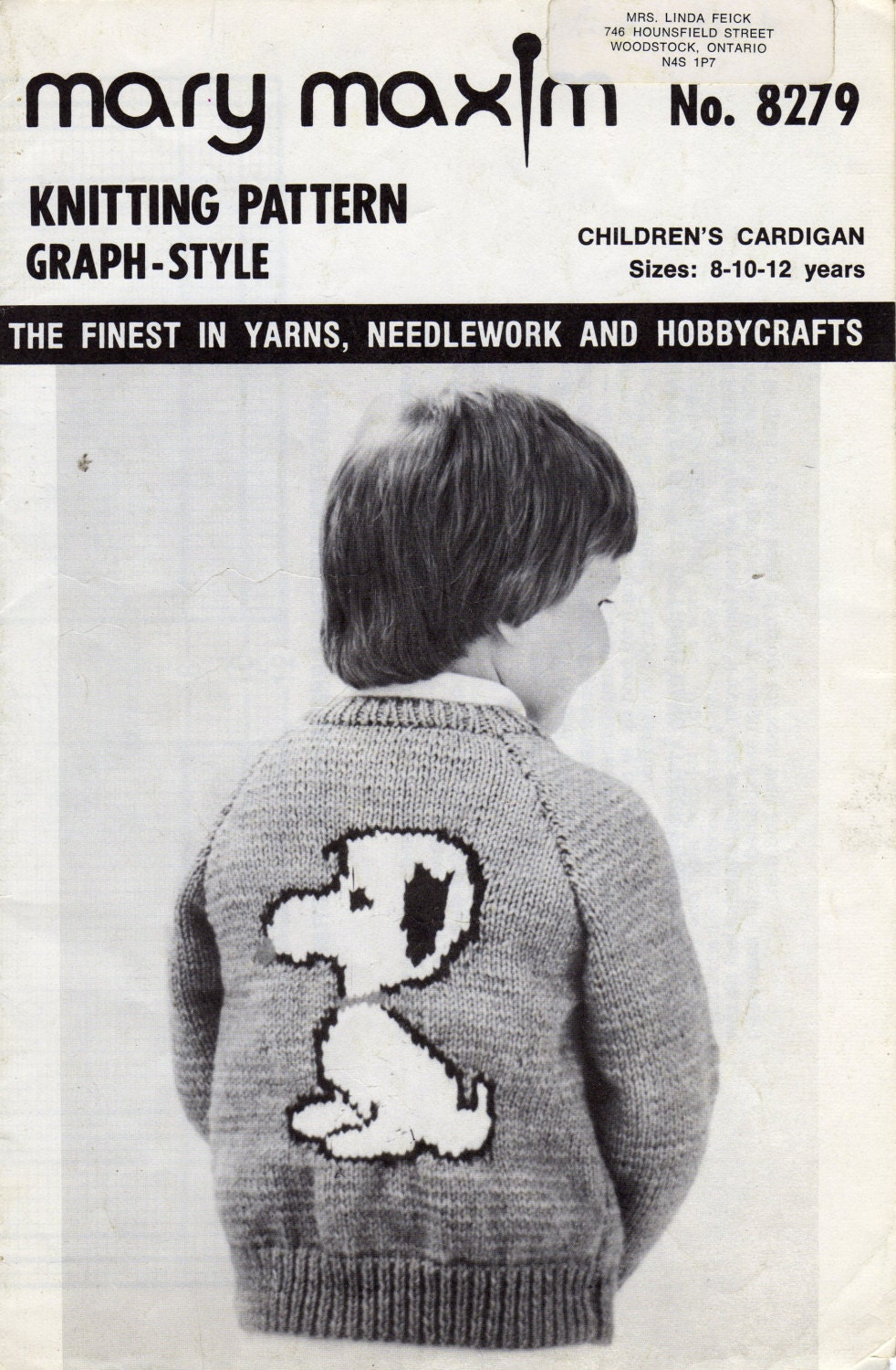 Mary Maxim Snoopy Graph Style Knitting Pattern Childrens.