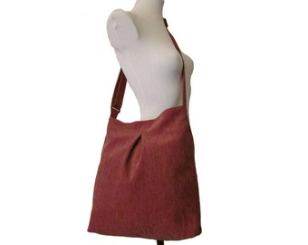 62- bag, purse, tote, red-brown, large, handmade