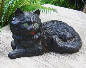 Antique Cottage Vintage 1900s Late Victorian - Figural Cast Iron Kitty Cat Doorstop Original Patina