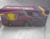 Totally Retro 1970's Avon Vantastic Amethyst Glass Van with Stick-On Decals and Box