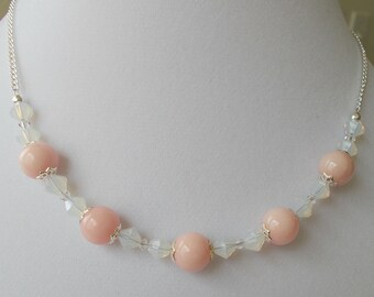 Pink Jade Stone Bead With White Opal Crystal Wedding Party Choker Necklace