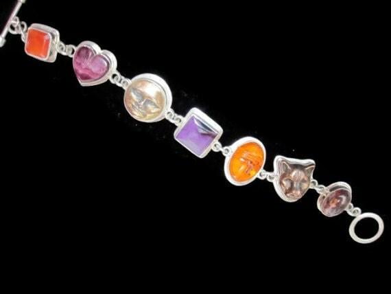 Tabra Opal, Carnelian, Purple Spiney Oyster, Sugalite, Amber, Bronze & Silver Bracelet