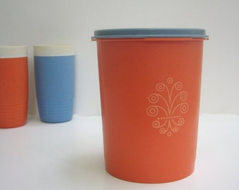 Mid Century Modern Tupperware Canister Danish Modern Graphic Container