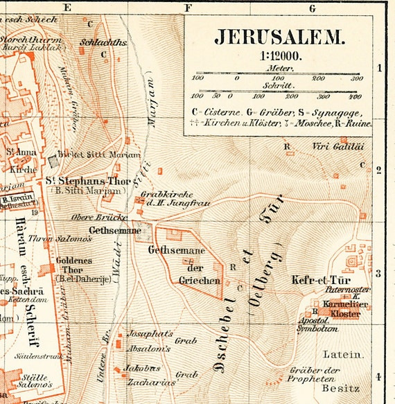 Jerusalem city map Holy City plan Mount Zion Israel history