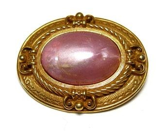 Sale - Pink brooch, pink Moonglow Lucite, goldtone, ornate oval chunky brooch, vintage