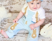Baby Boy Easter Tie Bodysuit with Suspenders and Visor Crocheted Hat - Bunny, Baby Shower Gift, Photo Prop  - Baby Boy Easter