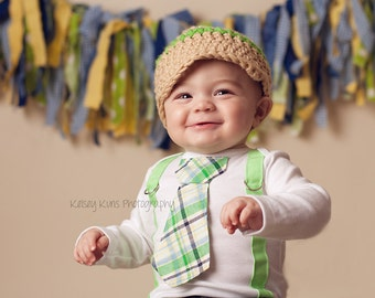 Baby Boy Tie Bodysuit or Shirt with Suspenders and Crocheted Hat Green Plaid - Spring, Summer, Easter