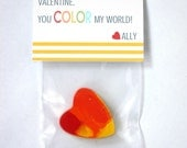 """Printable Classroom Valentine's Bag Tops - """"You Color My World"""""""