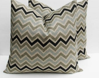 Pillows Decorative Throw pillow Covers Blue Gray Pillow 20x20 Throw Pillow Covers Burlap Pillow Cover Chevron Printed Fabric both sides