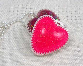 Pendant: glitter resin heart in sterling silver handmade bezel
