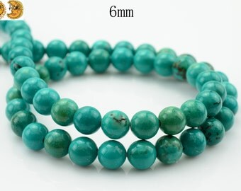 15 inch strand of Natural Turquoise smooth round beads 6 mm