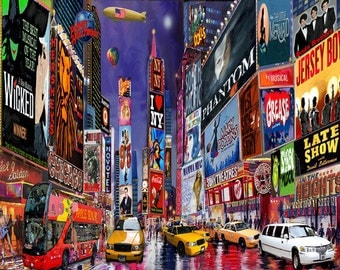 "New York City. Times Square. Broadway Show Musical. Painting on Giclee Canvas 16""x20"" with mat frame. By the Artist"