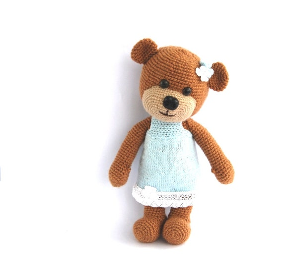 Amigurumi Valentine Teddy Bear Part Two : stuffed teddy bear crocheted brown bear with blue by crochAndi