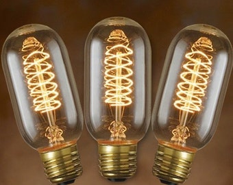 3-Pack Edison Bulbs for Edison Lamp - Tubular Vintage Spiral Filament 40-watt - T14