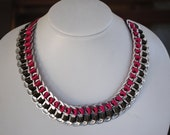 Soda Can Tab Necklace - Upcycled an eco friendly - Fuchsia and Olive Green