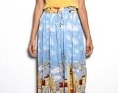 1990s Vintage Parisian Print Mid-Calf Skirt