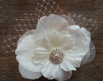 Bridal Clip - Flower with Birdcage Veiling