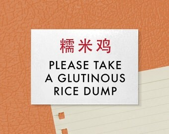 Funny Magnet. Icky Chinglish Phrase. Glutinous Rice Dump