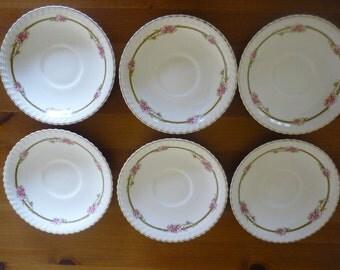 Vintage Decorative Bone China Saucer Plates, Collectable China, Shabby Chic, Bridal Shower, Vintage WeddingSet of 6 Vintage Bone