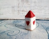 Valentines day heart small house folk art house miniature house red and white shabby chic rustic
