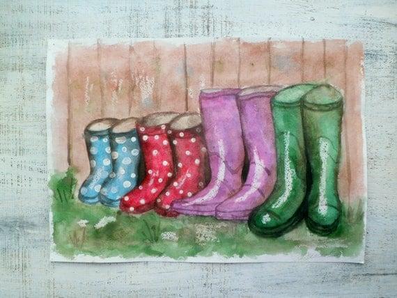 Summer Rain, wellies large original watercolor 12x16