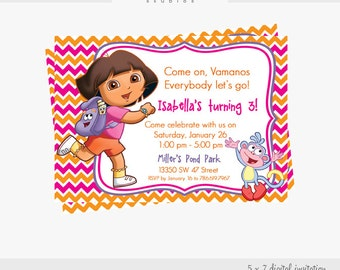 Dora 5 X 7 Digital Invitation