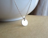 Tiny Sterling Silver Disc Necklace, simple silver necklace, everyday necklace, petite dainty jewelry, minimalist jewelry