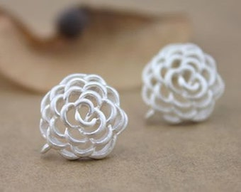 10 pcs raw brass plating silver flower  earring    pendant finding