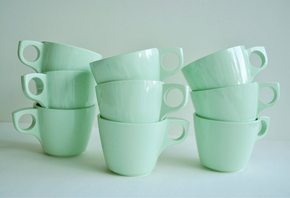 Vintage Boonton Mint Green Coffee Cups Set of 9 Retro Plastic Melamine