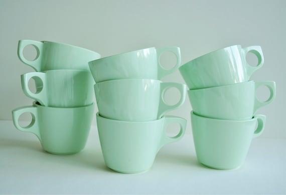 Vintage Boonton Mint Green Coffee Cups Set of 9 Retro Plastic Melamine