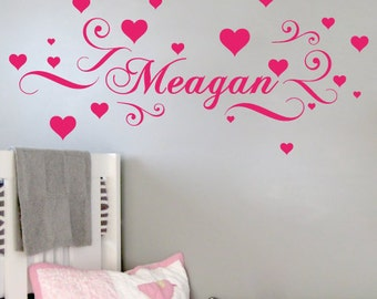 StickTak Stickers Custom Name & Hearts Vinyl Wall Sticker for Girls Removable Art Decal