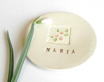 Personalized Ceramic Jewelry Dish Rose Plate Bridal Pottery Gift Custom ceramic