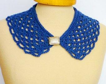 Blue Peter Pan Collar, Crochet Collar, Lace Collar, Navy blue color, Detachable Collar Necklace, blue crochet Collar, Mothers day gift