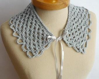 Grey Peter Pan Collar, Crochet Collar,  Grey color, Lace Collar, Detachable Collar Necklace, Grey crochet Collar,,