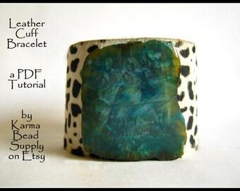 embellished leather cuff bracelet ,PDF tutorial - instant download -