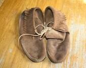 MinneTonka Moccasin Ankle High Fringe Boots 8/8.5