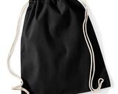 plain unprinted gym sack bag black cotton bag DIY