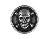 12 Skull & Bones 5/8 inch ( 15 mm ) Metal Buttons Silver Color