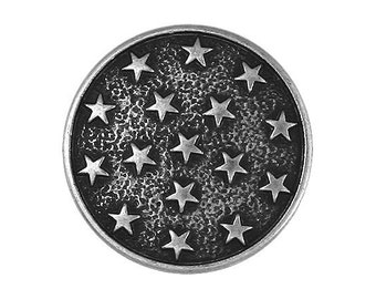 3 Round Metal Stars 7/8 inch ( 23 mm ) Metal Buttons Antique Silver