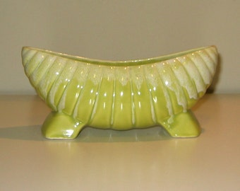 Vintage Curved and Fluted Apple Green Pottery. Circa 1950s.