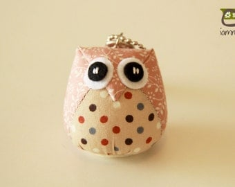 Candy - the Little Cute Owl Doll with Bag: plush, keychain, children, kid, baby, boy, girl, kid, poka dot, pink, brown, kawaii, iammie