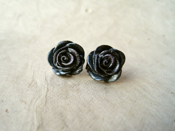 Gunmetal Rose Earrings. Metallic Black Earrings Handmade Polymer Clay Earrings. Black Rose Stud Earrings. FSE1.