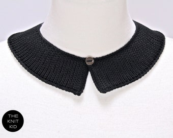 knitted collar black cotton Peter Pan choker knit jewelry theknitkid THE KNIT KID