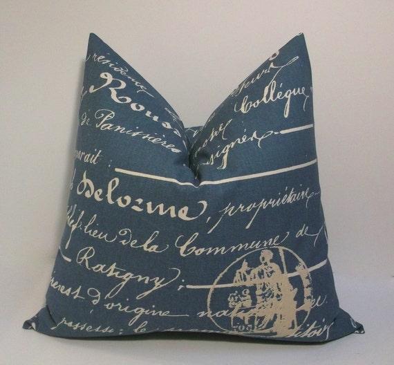 Decorative Denim Pillows : Throw pillow cover Denim blue and khaki 18in decorative