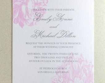 Sample - Peony Wedding Invitation