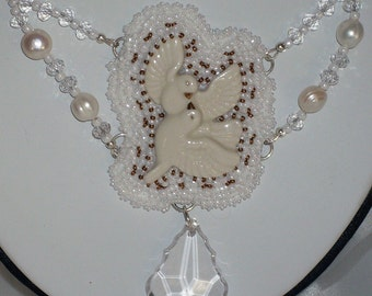 White Doves for the Bride in your life Bead Embroidery Necklace and Earrings