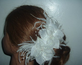 WHITE or IVORY BRIDAL Flowers with Feathers Hair Clip Barrette