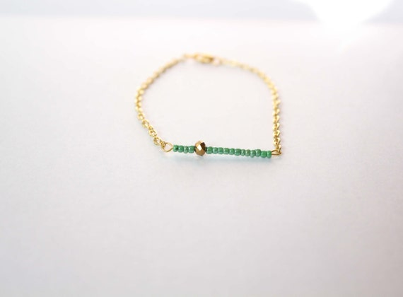 Glass Seed Bead Bar Bracelet on Gold Cable Chain