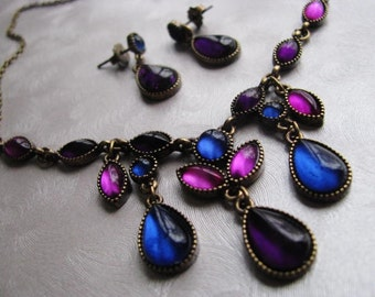 SAO or SAQ Vintage Necklace and Earring Set - Blue Pink Purple Necklace and Earrings - Jewelry Set