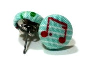 Musically Inclined Fabric Covered Button Earrings